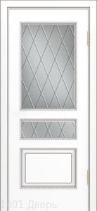 Двери-Лайндор-Калина-П-эмаль-белая-стекло-Лондон-светлое