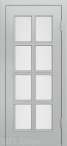 Двери-Лайндор-Аврора-К-эмаль-серая-стекло-белое